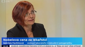 Nobel Prize in Physiology or Medicine - an interview with G. Pavlínková for ČT24 about HIF